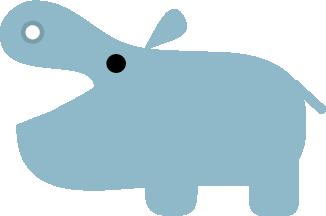 シンプルな横向きのカバのイラスト