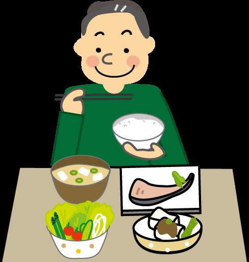 バランスの良い食事をしている男性の絵です