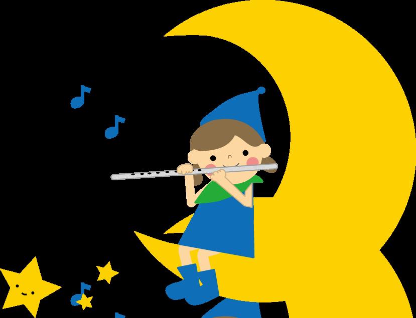 かわいいイラスト(無料イラスト)フリー素材/笛の音