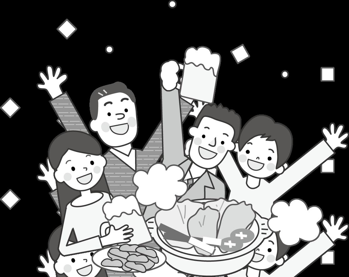 忘年会・新年会・お花見・宴会のイラスト/無料イラスト