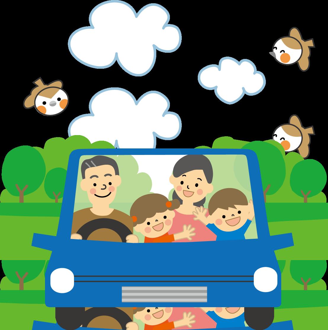 家族でドライブのイラスト(無料イラスト)フリー素材