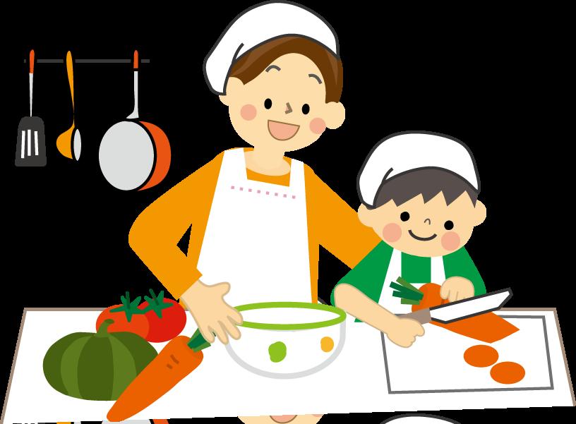 親子で料理をしている白黒イラスト02 | かわいい無 …