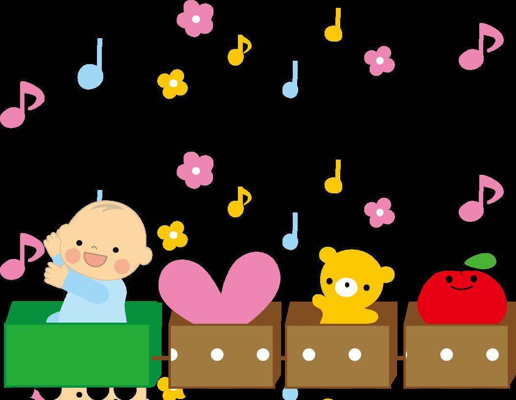 赤ちゃんがカートに乗って遊んでいるイラストです