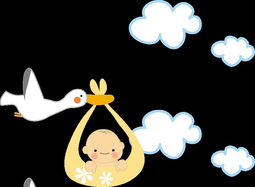 コウノトリが二羽飛んできた~育児絵日記~