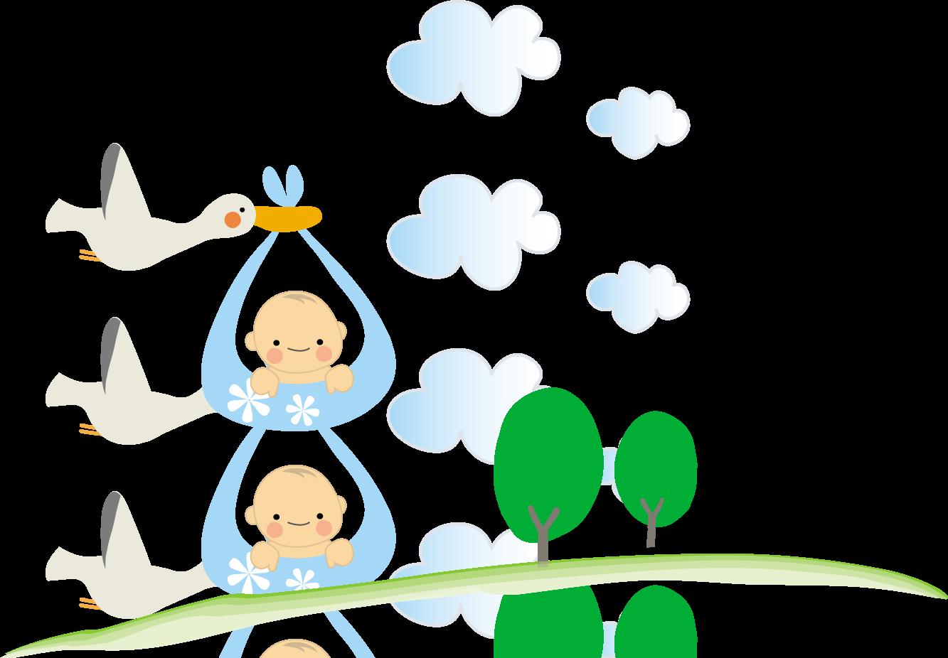 赤ちゃんとコウノトリのイラスト(baby)無料イラスト/フリー素材